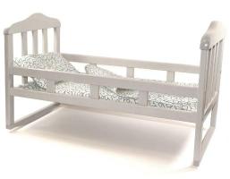 Деревянная кроватка для куклы большая (белая)