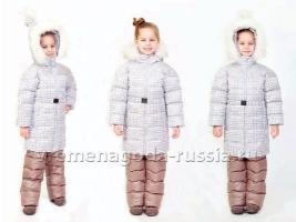 """Детский зимний комплект: пальто и полукомбинезон на искусственном лебяжьем пуху для девочки """"ЛЕСНОЙ ОРЕХ"""""""