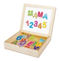 Касса букв и цифр в деревянной коробке с магнитной крышкой-полем