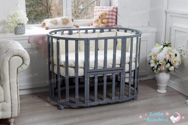 """Овальная кроватка - трансформер """"Elegante"""" 8-в-1 (Серый Элит)"""