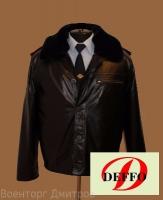 Куртка Полиция кожаная прямая с меховой подстежкой