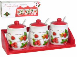 Набор банок для сыпучих 3шт Садовая ягода