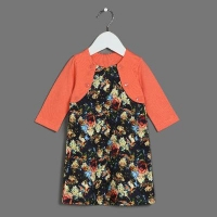 Платье, набивка+коралл