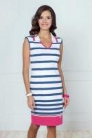 Платье трикотажное 406642, белый/синий/цикламен