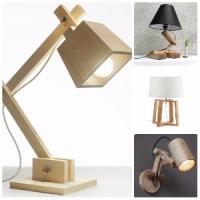 Лампы из массива дерева настольные и напольные