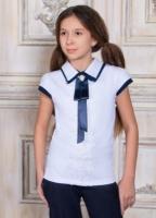 Блузка Соль&Перец короткий рукав с брошью (школа)