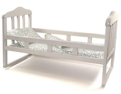 деревянная кроватка для куклы большая белая
