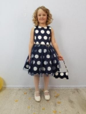Детское нарядное платье - Ксения Крупный горох (оптом от производителя)