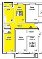 Двухкомнатная квартира улучшенной планировки в новостройке 56 кв.м., лоджия, черновая отделка