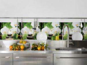 Фартук для кухни из АБС пластика. Орхидея белая.