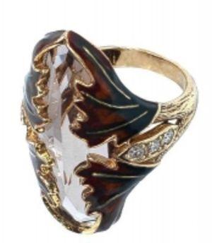 Кольцо золотое с бриллиантами и раухтопазом КК1513