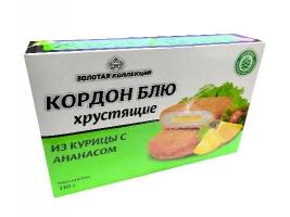 """Кордон блю """"Из курицы с ананасом"""" (мясной полуфабрикат из мяса птицы,  рубленный, формованный, панированный). Масса нетто: 330 гр."""