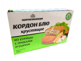 """Кордон блю """"Из курицы с грибами и сыром"""" (полуфабрикат из мяса птицы,  рубленный, формованный, панированный). Масса нетто: 330 гр."""