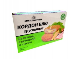 """Кордон блю """"Из курицы с ветчиной и сыром"""" (полуфабрикат из мяса птицы,  рубленный, формованный, панированный). Масса нетто: 330 гр."""