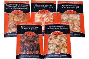 Креветки вареные в соусе и копченые в панцире