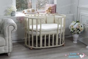 """Овальная кроватка - трансформер """"Elegante"""" 8-в-1(Ivory/слоновая кость)"""