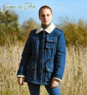 Куртка джинсовая удлиненная на натуральной овчине