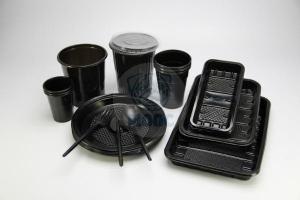 Наборы черной одноразовой посуды из пластика
