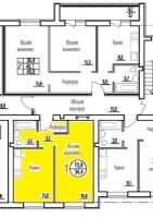 Однокомнатная квартира в новостройке 34.4 кв.м., индивидуальное отопление