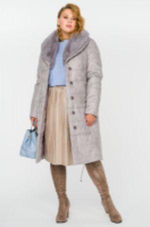 Пальто стеганое плащевое женское, утепленное