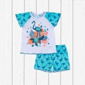 Пижама для девочки (кулирка) Артикул: 823п бирюза_фламинго