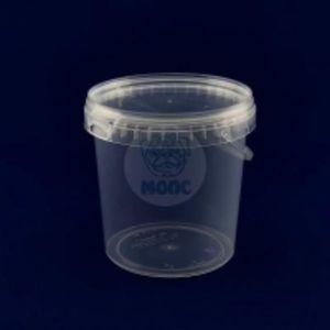 Пластиковое ведро 1л прозрачное с крышкой 1/200 код товара 20109-00013