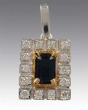 Подвеска золотая с бриллиантами и сапфиром