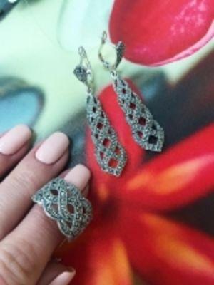 Серебряные серьги и кольцо Марказит Swarovski