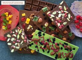 шоколад ручной работы  «Handmade. Малина миндаль изюм» без сахара