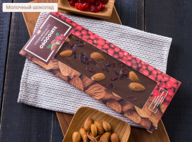 шоколад серии «Handmade. Миндаль-клюква» без сахара