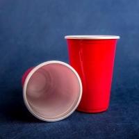 Стакан одноразовый 500 мл пластиковый двухслойный Высокий красно-белый Экстра 50/16/800