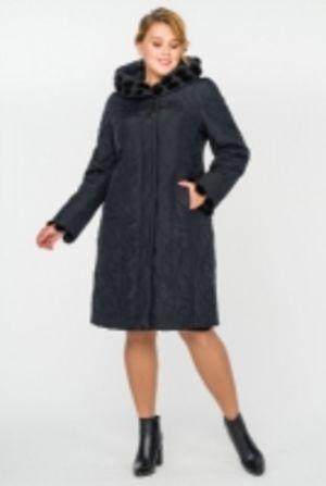 Стеганые женские пальто с отделкой из меха норки