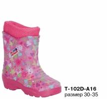 Т-102D-А16 Сапоги детские для девочек с утепленным вкладышем размер 30-35
