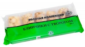 ТМ-Золотая коллекция: Блинчики с творогом. (Полуфабрикат в тесте. Замороженный. Не содержит ГМО.). Масса нетто: 400 г