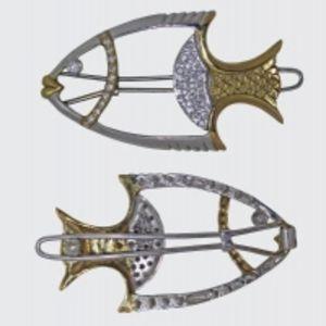 Заколка для волос серебряная Рыбка
