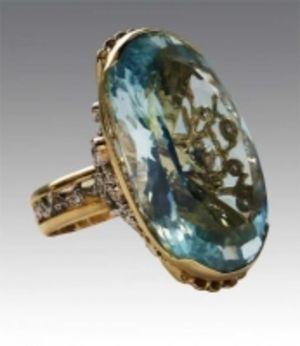 Золотое кольцо АртБазаръ с бриллиантами и топазом КК1347