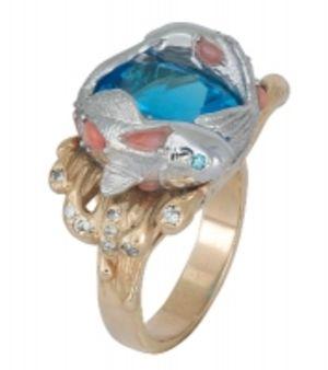 Золотое кольцо «Рыбки» с бриллиантами, топазом и кораллом КК1509