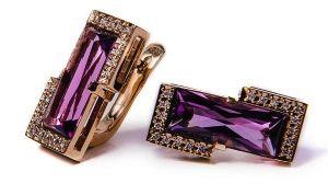 Золотые серьги с бриллиантами и аметистами СК655