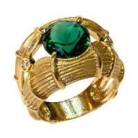 Золотое кольцо с бриллиантами и турмалином